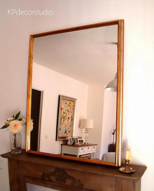 Kp tienda vintage online espejo dorado de madera marco - Espejos marco madera ...