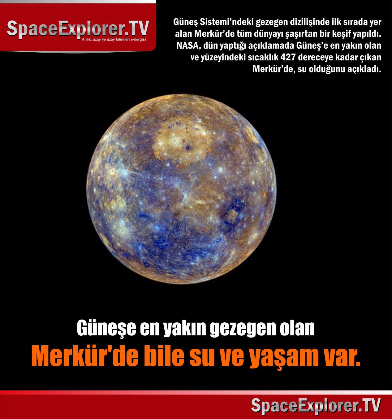 Hayat olabilecek gezegenler, Gezegenler, Merkür, Su bulunan gezegenler, NASA, Messenger uzay sondası, Space Explorer, Güneş sistemi,
