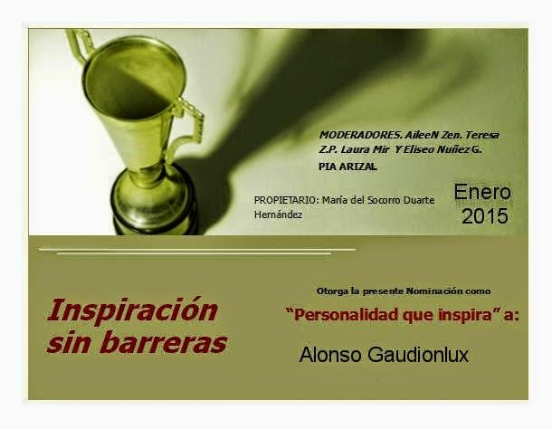 Imagen del reconocimiento personalidad que inspira a Alonso Gaudionlux