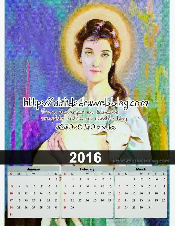 Calendario católico trimestral 2016 enero febrero marzo para imprimir de Santa Inés
