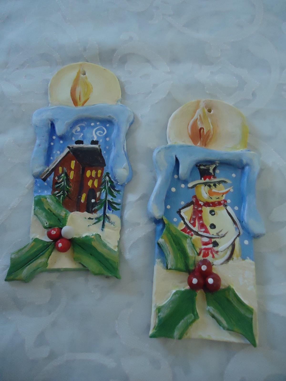Adornos navide os velas en arcilla y pintadas a mano - Adornos navidenos a mano ...