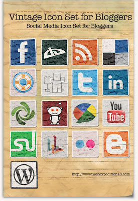 social media share icons - vintage social media icon set