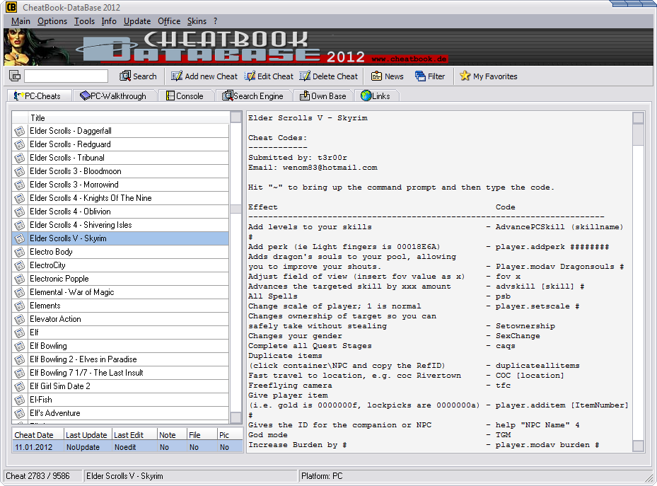 Cheatbook Database 2012 | Download Games And Softwares