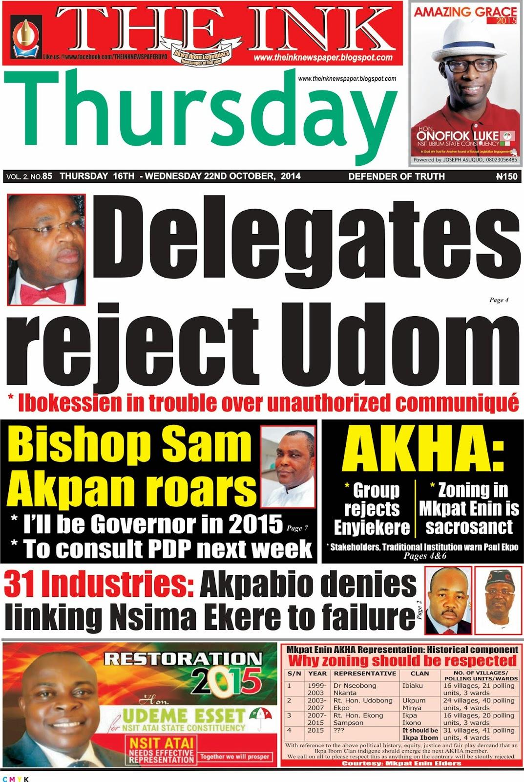 Latest Edition of THE INK NEWSPAER, Uyo, Akwa Ibom State