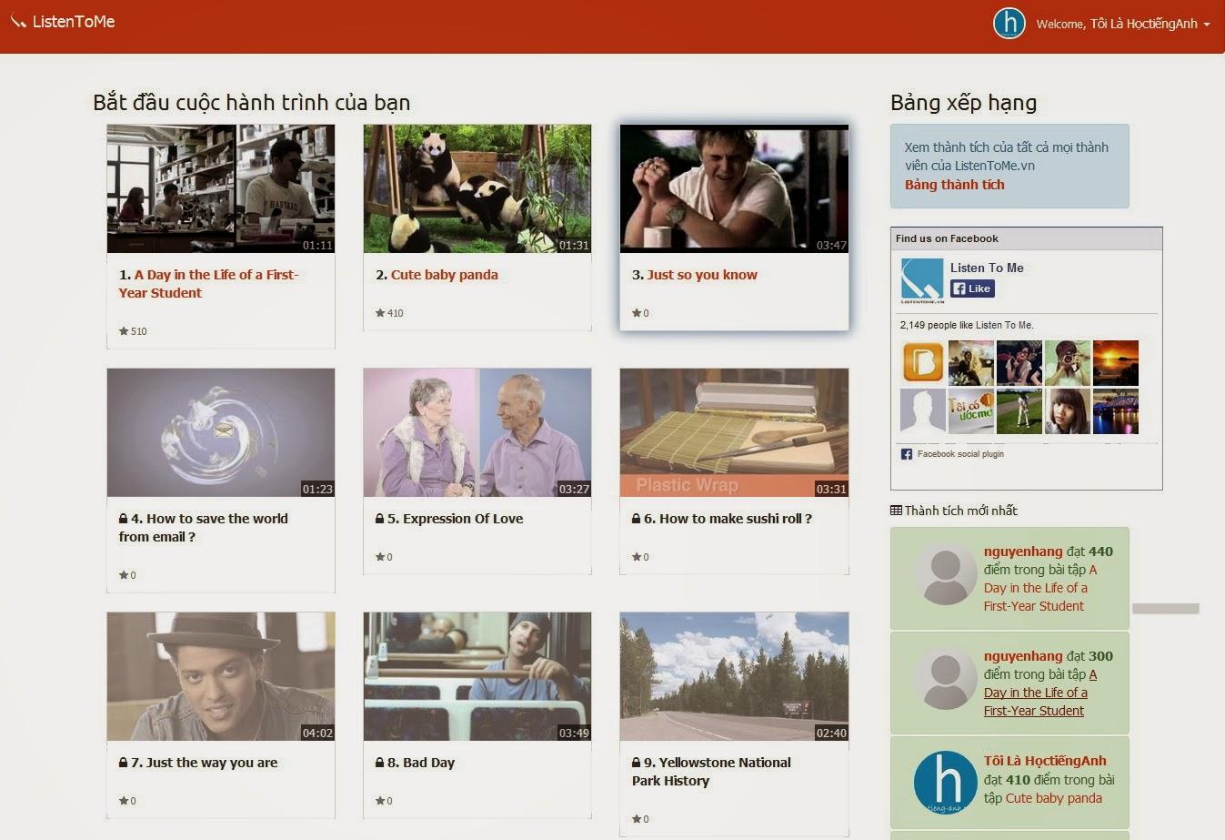 Trò chơi thực hành tiếng Anh ListenToMe.vn