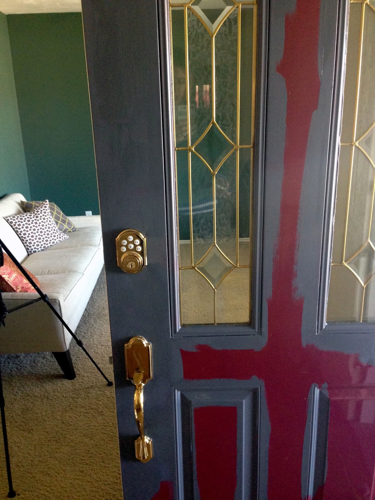 I cleaned the door well and started cutting in the primer (that I had tinted a dark gray since I was painting the door black). Even though this wasn\u0027t the ... & Onyx and the Front Door - Chris Loves Julia Pezcame.Com