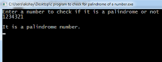 C program for palindrome number
