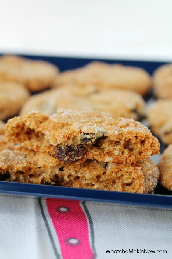 The trick to the BEST Oatmeal Raisin Cookies: Roll the dough in sugar before baking!