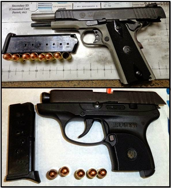 Top - Bottom, firearms discovered at MEM, and ATL