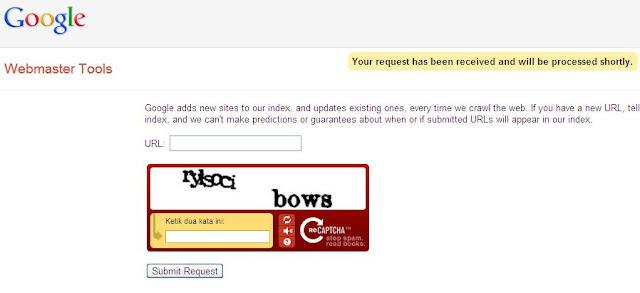 halaman konfirmasi permintaan add url google webmaster
