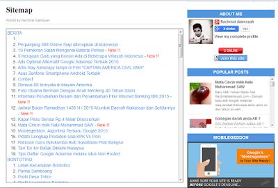 Cara membuat Sitemap Blog Berdasarkan Label dengan model Scroll