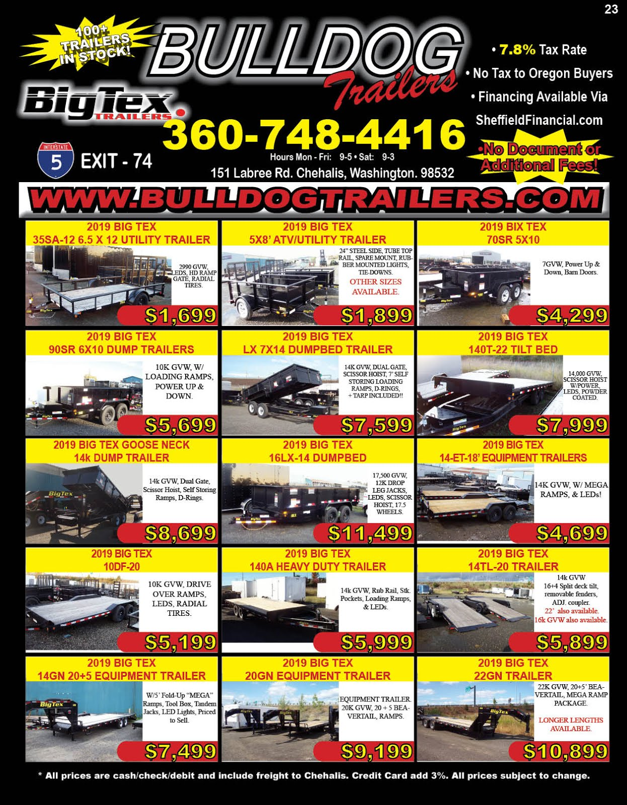Bulldog Trailer Sales Carries Big Tex Trailers!!
