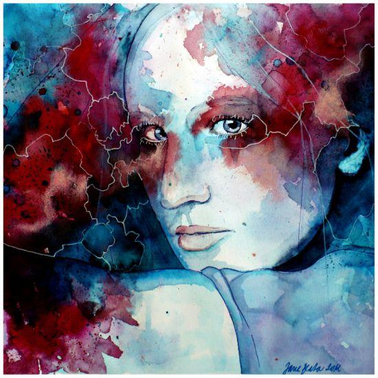 Jana Lepejova jane-beata deviantart pinturas aquarela mulheres olhares femininos A outra