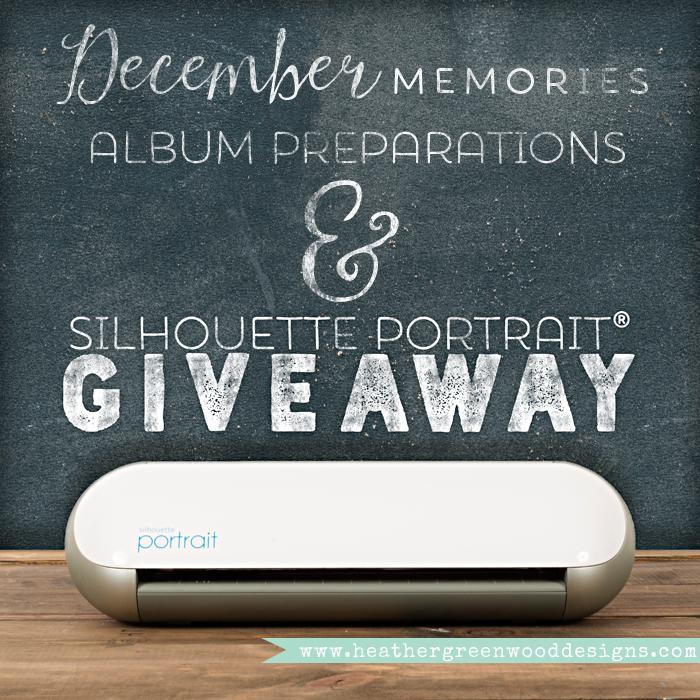 December Memories Scrapbook Album preparations, list of Silhouette America® cut files and photos of them inside the album