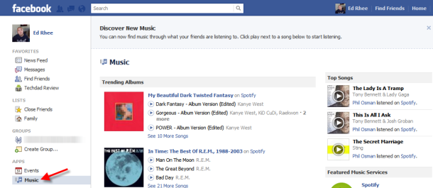 how to put music on facbook