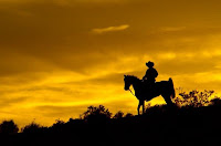Wild West Horseback Ride, Man on horse with beatiful sunset backdrop.