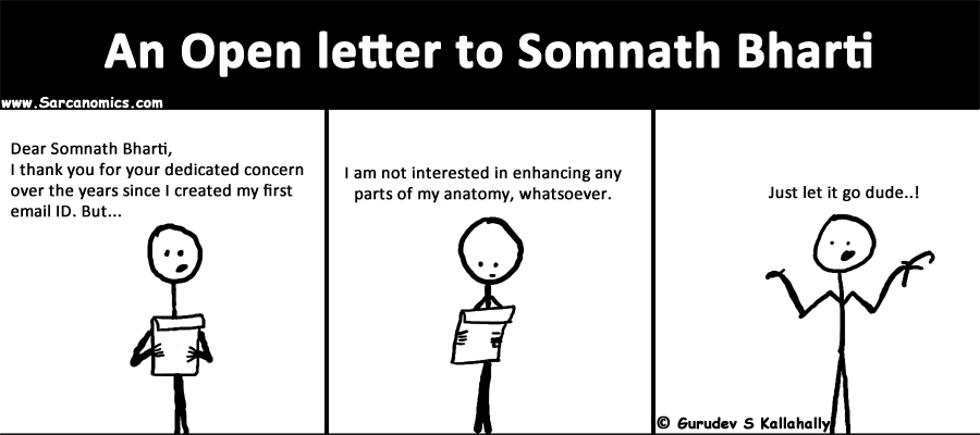 Somnath Bharti, spammer, AAP, Open letter, penile enlargenment, comics, webcomics, sarcanomics