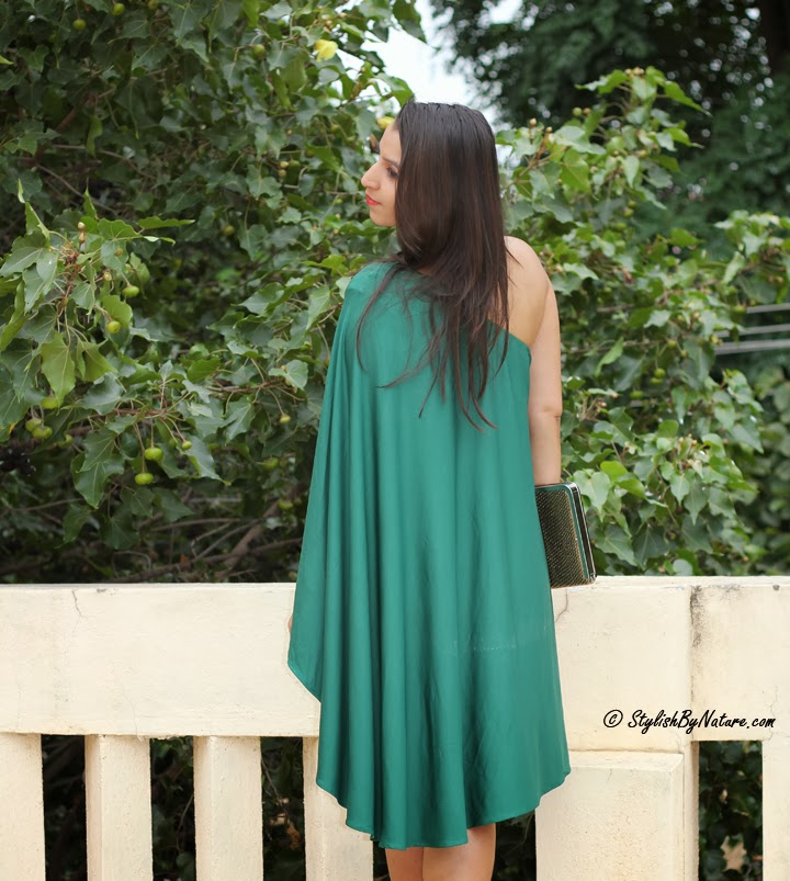 asymmetrical green dresses