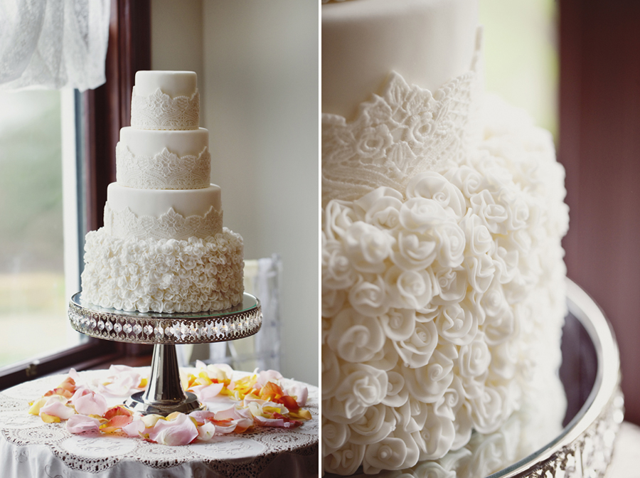 This Cake Could Be A Great Option If Youu0027d Like The Traditional Fondant Wedding  Cake Look + A Pretty Layer Of Buttercream Cake To Soften The Design And ...