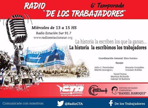 RADIO DE LOS TRABAJADORES: Miércoles de 13 a 15 hs.