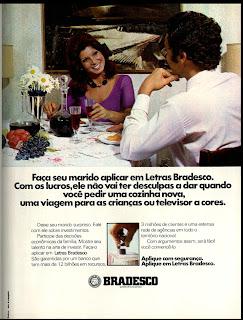 propaganda bradesco de 1974. 1974.anos 70. década de 70. os anos 70; propaganda na década de 70; Brazil in the 70s, história anos 70; Oswaldo Hernandez;