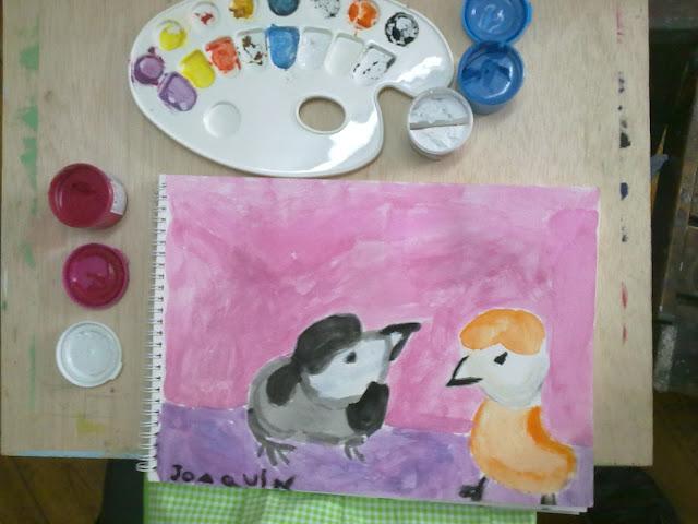 pintando pollitos de Te Wei