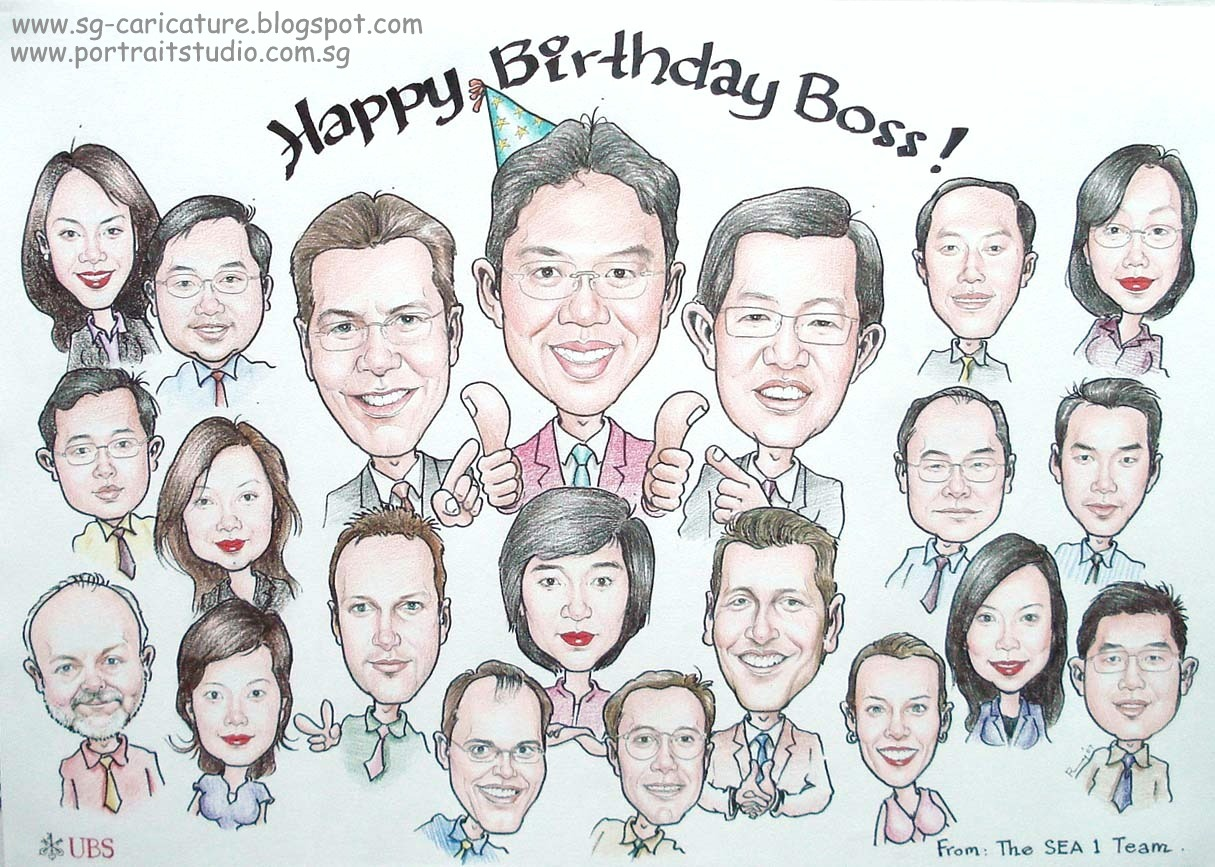 The Staff Of This Company Shared Cost To Do Up Caricature As A Birthday Gift For Their Boss What Lucky Have Such Sweet Employees