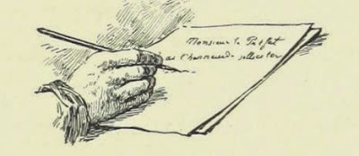 drawing of hand holding pen