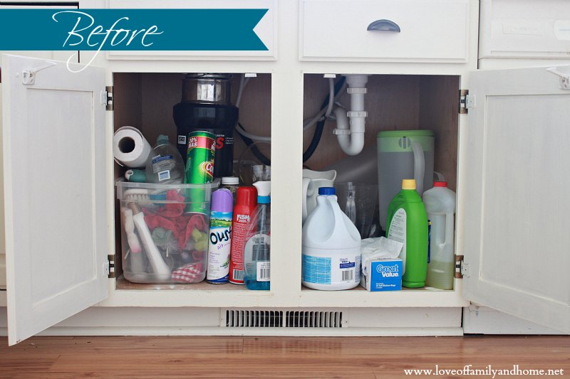 Cleaning organizing under the kitchen sink love of for A bathroom item that starts with p