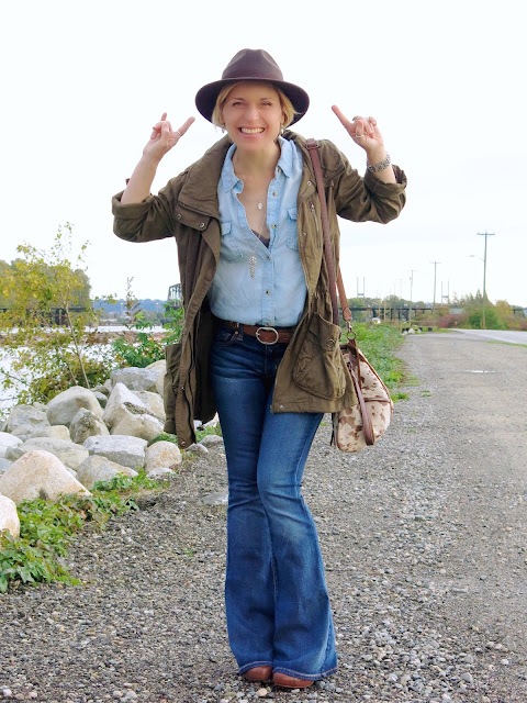 styling a chambray shirt and flare jeans with an army parka and felt fedora