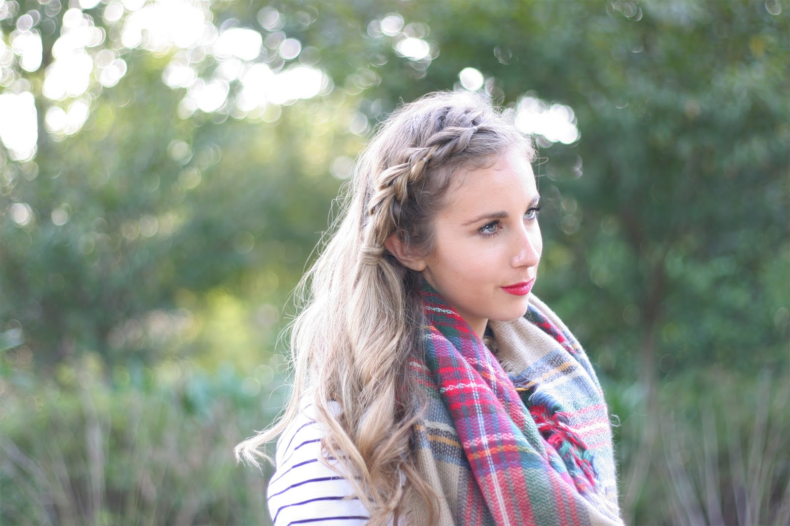 Pull-through-braid-with-plaid - The-perfect-fall-hairstyle!