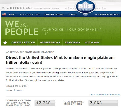 White House Petition: Direct mint to make trillion dollar platinum coin