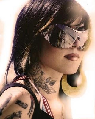 Eija Ann Brittany Karolin homepage angel devil flip tattoos stock photo Bad