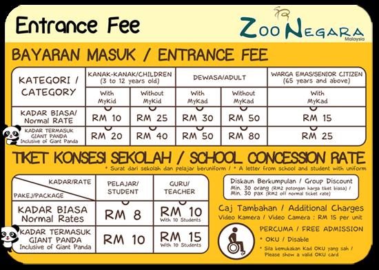 Harga Tiket Terkini Zoo Negara 2015
