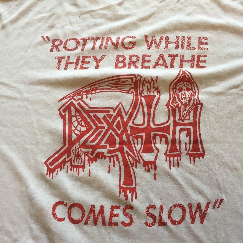 Death T shirt 80 s Leprosy Carcass Slayer Autopsy Metallica Cannibal 500159f5a502