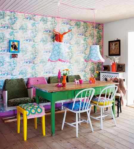 Kolorowe krzesła, zielony stół, żólty taboret i oryginalna ściana