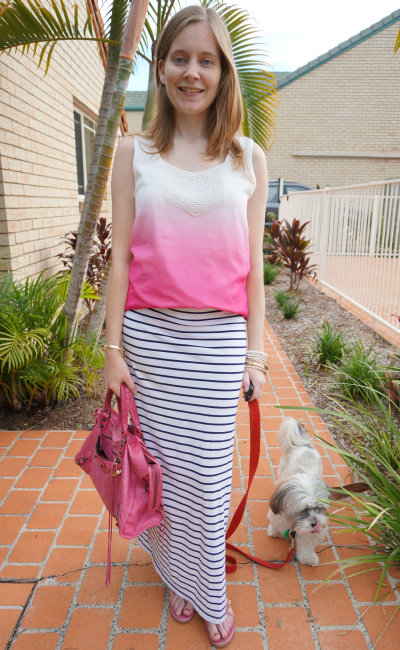 jeanswest ombre tank half tucked stripe maxi skirt sorbet bal city bag