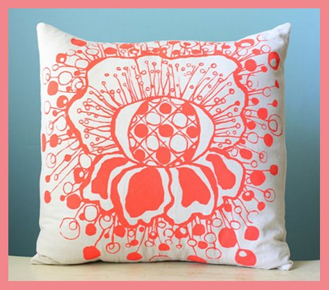 Polka Dot Flower Linen Pillow Cover