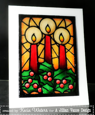 A Jillian Vance Design, Kecia Waters, Copic markers, die, stained glass, Christmas