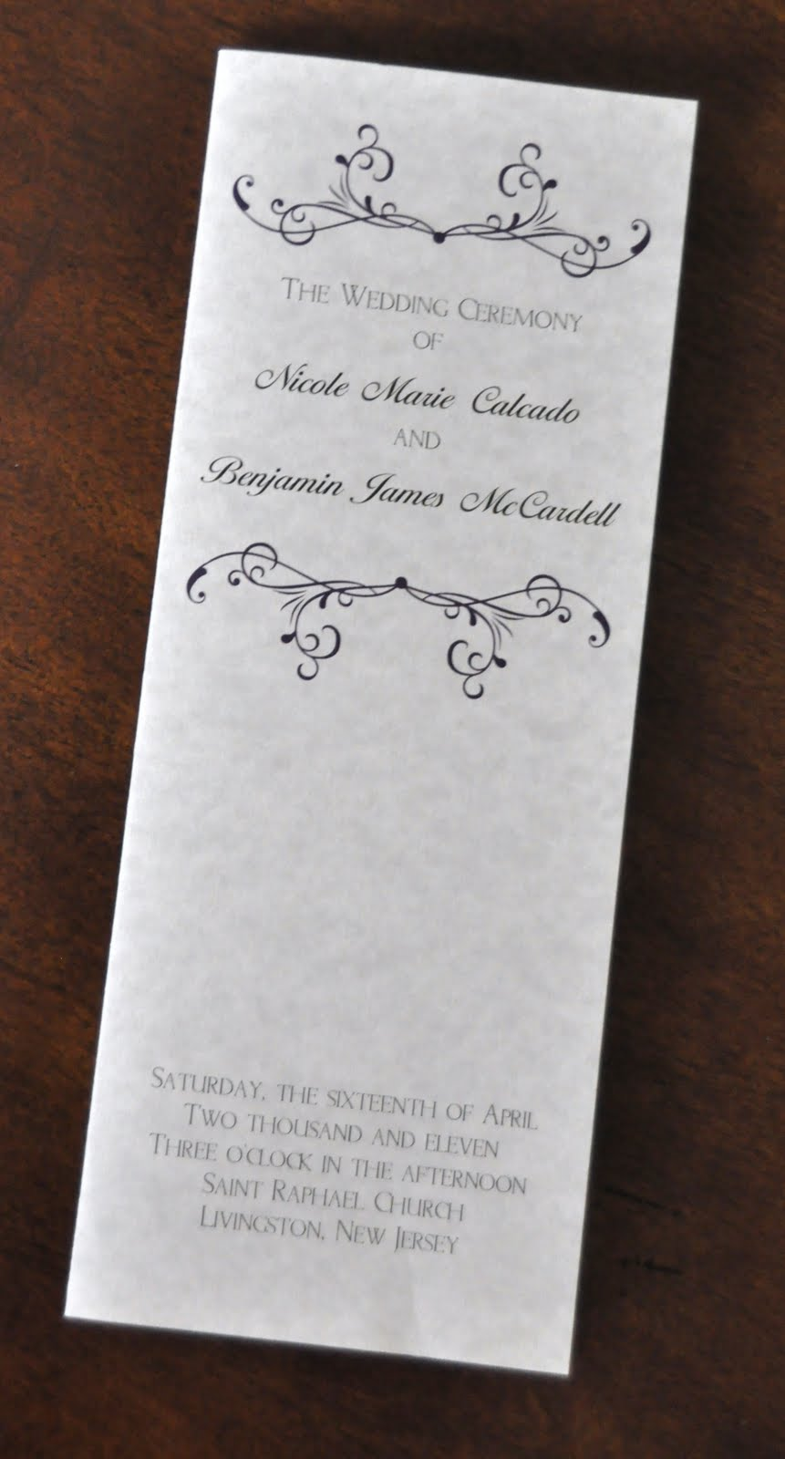 Sample Wedding Programs