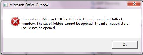 Cannot start Microsoft Office Outlook. Cannot open the Outlook