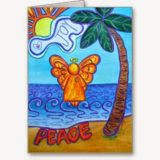 Joy and Peace Beach Angel Greeting Cards