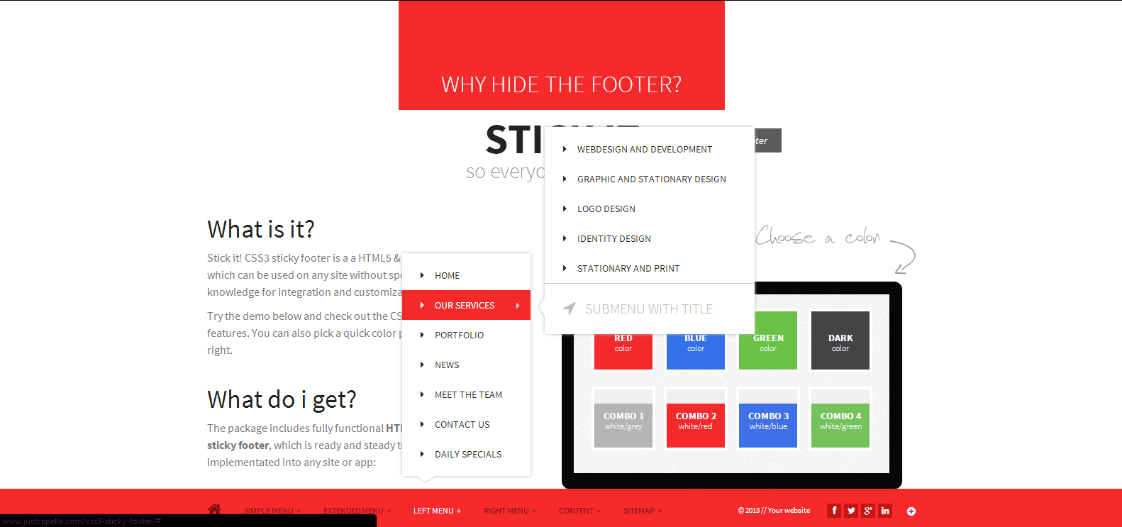 Stick it. HTML5 & CSS3 Sticky Footer