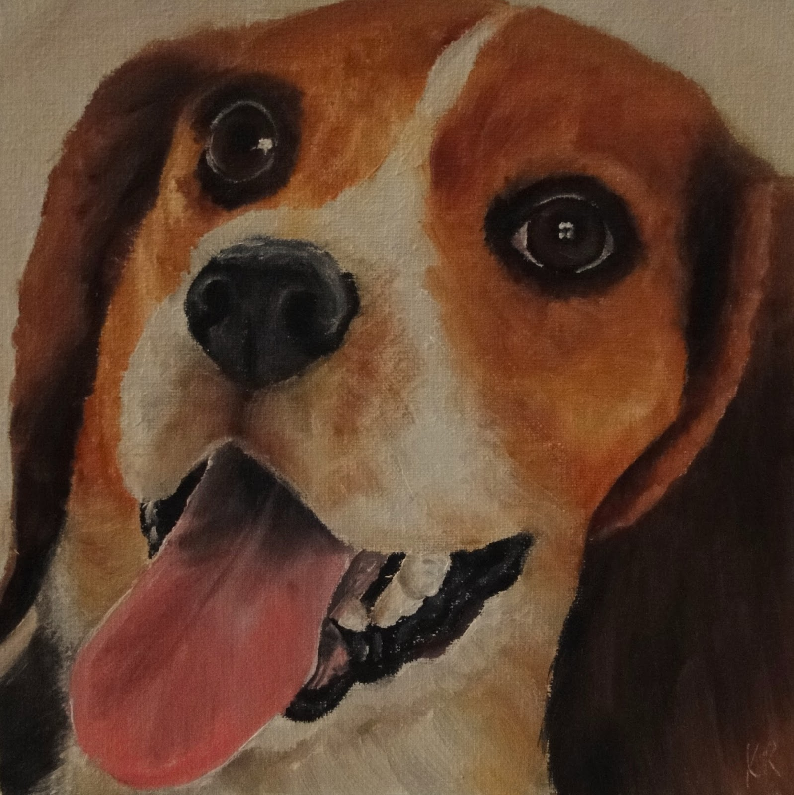 close up painting of a beagle in oils, by pet portraits by Karen