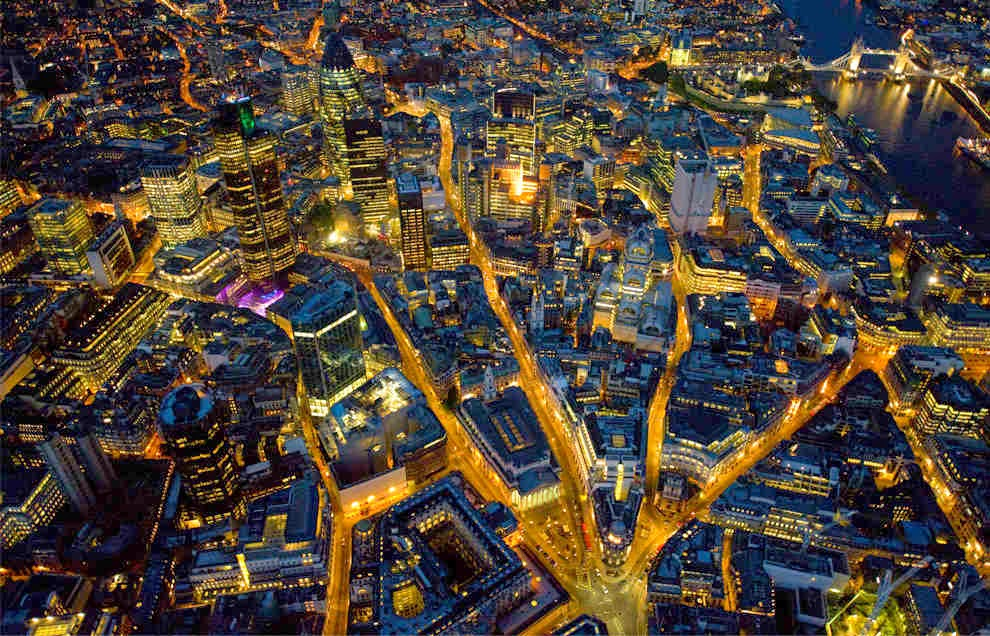 The city of London at night