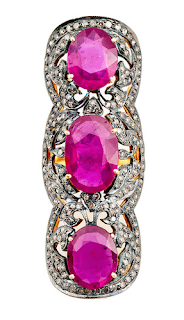 Three Ruby Full Finger Ring in Yellow Gold, White Diamonds and Rubies by ELAHN Jewels