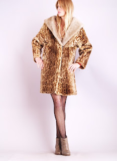 Vintage 1960's leopard print shearling swing coat with large collar