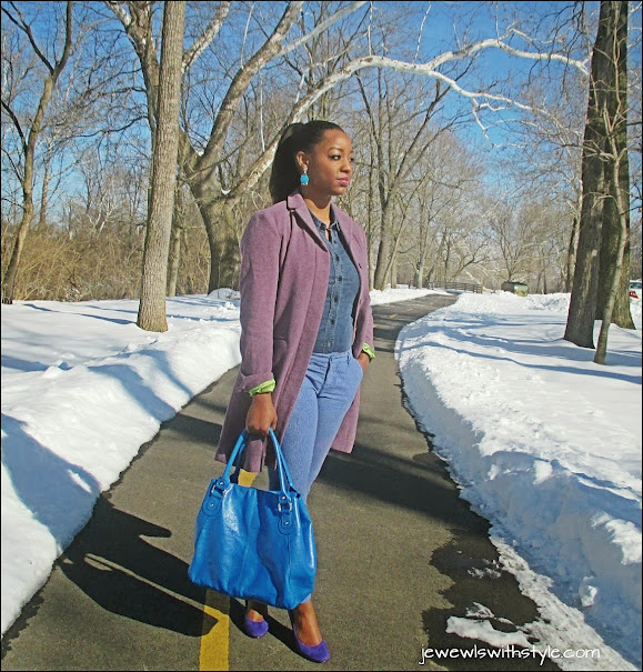 analogous color outfit, combining colors in your wardrobe, mixing colors, the color wheel, jewels with style, winter coat, blue outfit, winter style, nine west heels, m renee design, jean on jean