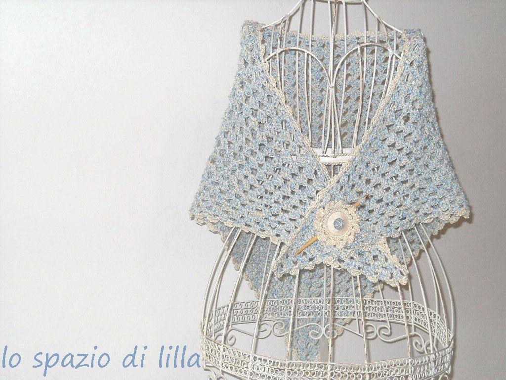 Lo Spazio Di Lilla Scialle Crochet In Cotone E Viscosa Cloud