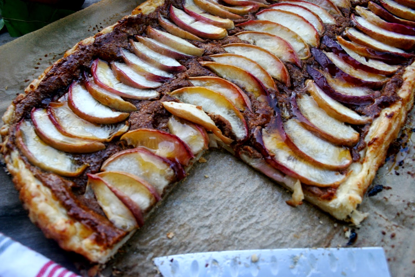 White Nectarine Frangipane Tart with Homemade Puff Pastry, pre-bake